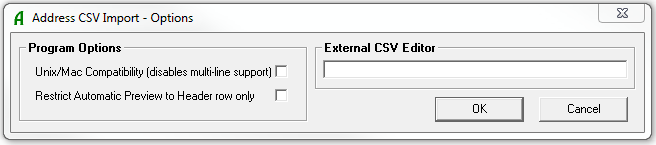 Address CSV Options