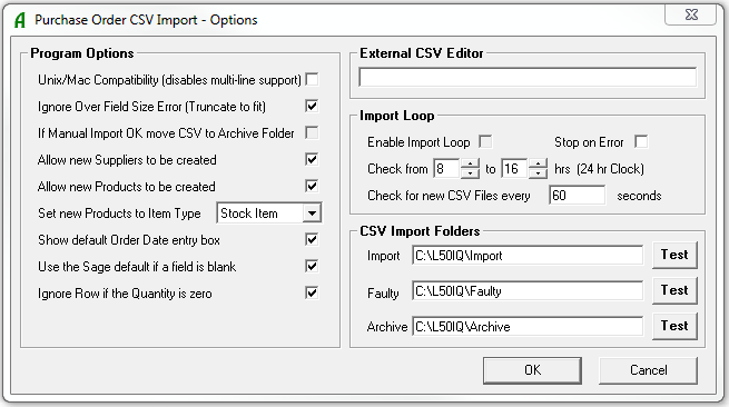 Purchase Order CSV Options