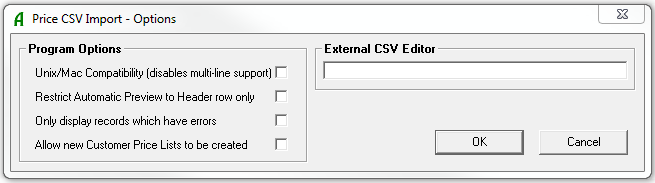 Price CSV Options