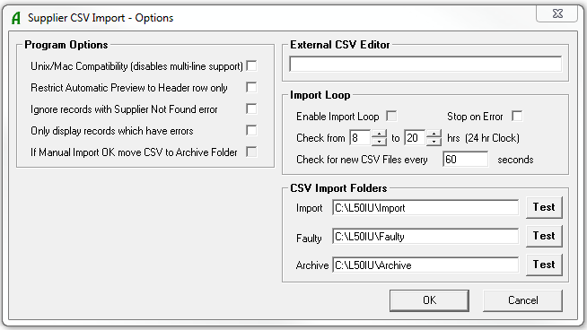 Supplier CSV Options