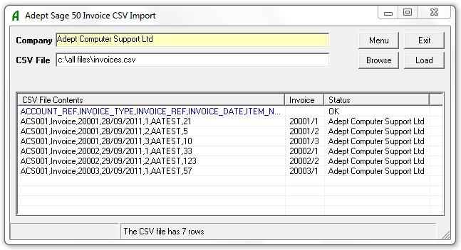 Sales Invoice CSV in Action